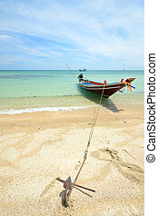 Boat floating on transparent water - Tourist boat floating...