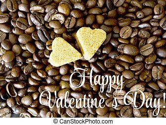coffee beans, sugar hearts