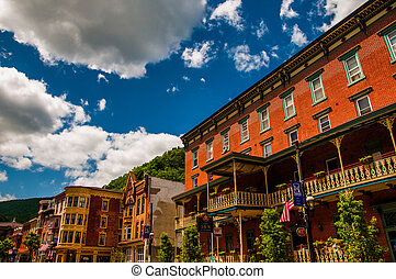 Beautiful summer sky over buildings in historic Jim Thorpe,...