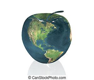 apple - american apple in the light white sky