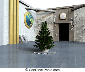 bare Christmas tree ready to decorate