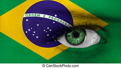 abstract eye wit Brazil flag