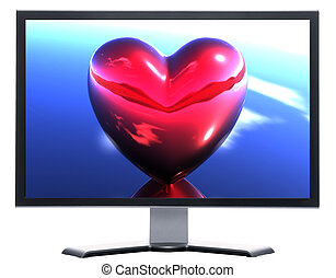 monitor with 3D hearts isolated on white