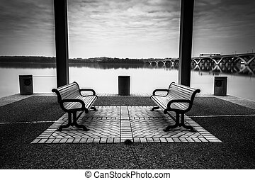 Benches on the waterfront in Alexandria, Virginia