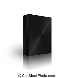 blank black brushed box template on white background