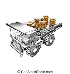 truck with golden coins