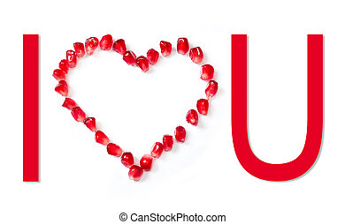 I love you - I love you - text on white background Heart...