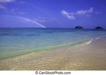 rainbow at lanikai beach, hawaii - double rainbow over...