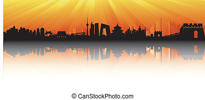 Beijing Skyline with sun rays