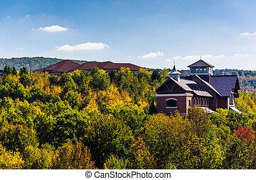 Buildings on a hill near Scranton, Pennsylvania. - Buildings...