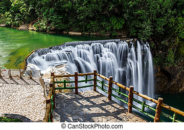 Shifen Waterfall in Pingxi, Taiwan - Viewing platform of...