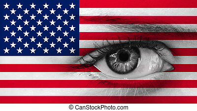 abstract eye with US  flag