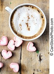 Hot chocolate with heart pink marshmallow for valentine's...