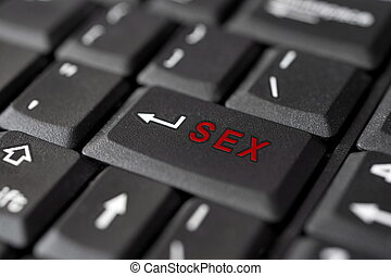 SEX message on enter key, for pornography websites concepts...