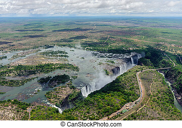 Victoria Falls - The Victoria Falls from air in Zimbabwe
