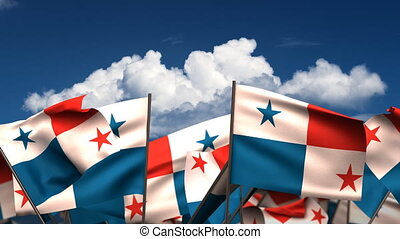 Waving Panamanian Flags seamless alpha channel