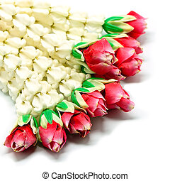 Garland flower in Thai style on a white background, used...