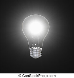 Lightbulb in dark - Shining lightbulb illustration isolated...