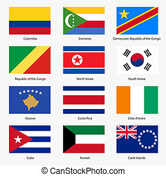 Set Flags of world sovereign states Vector illustration Set...