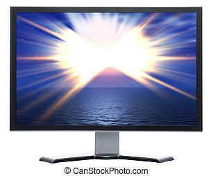 monitor with solar sky with horizon and sun beams isolated...