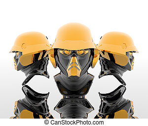 3d soldiers in a gas mask with golden helmet