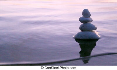 Marble stones in Zen style D - Stack of round smooth marble...