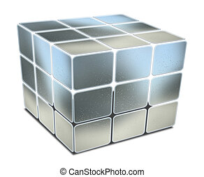 cube with gaps blue metal textured on white