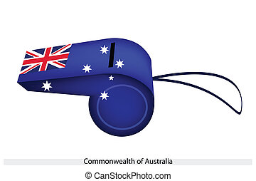 A Beautiful Blue Whistle of Australia Flag - An Illustration...