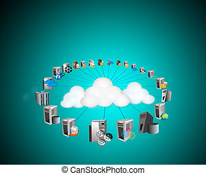 Cloud Computing Network - Illustration of Cloud computing...