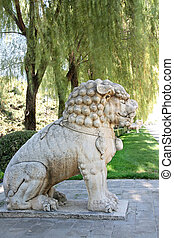 Stone lion - Lion statue on the Ming Tomb Alley in Beijing