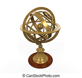 Armillary Sphere isolated on white background 3D render