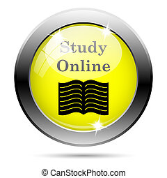 Study online icon - Metallic round glossy icon with black...