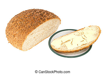 homemade bread with butter on a plate