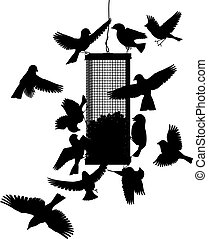 Bird feeder - Editable vector silhouettes of birds at a...