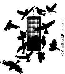 Bird feeder - Editable vector silhouettes of birds at a...