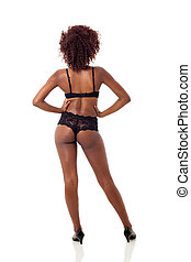 rear view of african woman in lingerie - rear view of sexy...