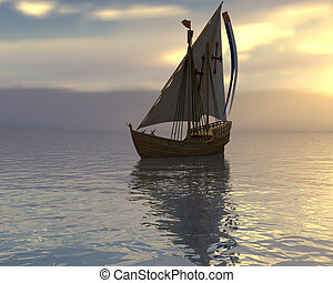 Sailing vessel in the sea on a sunset