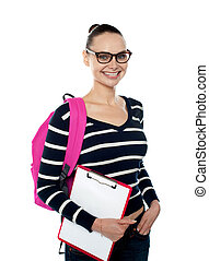 College student holding Clipboard - Smiling university...