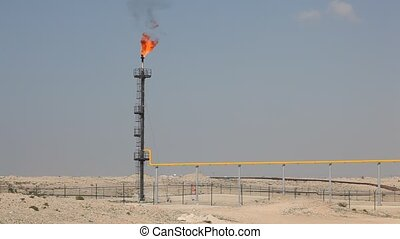 Oil refinery gas flare in Bahrain, Middle East