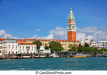 Italy. Venice. View of the lagoon with Campanile on Piazza...