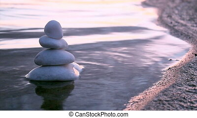 Marble stones in Zen style C - Stack of round smooth marble...