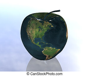 earth - american apple in the blue light sky