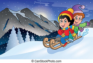 Children on sledge in winter - eps10 vector illustration