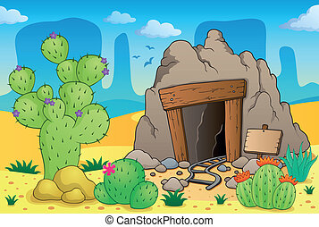 Desert with old mine theme 1