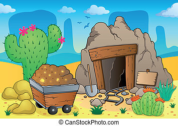 Desert with old mine theme 4 - eps10 vector illustration.