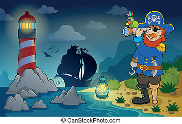 Lighthouse with pirate theme 3 - eps10 vector illustration.