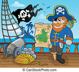 Pirate ship deck topic 2 - eps10 vector illustration.