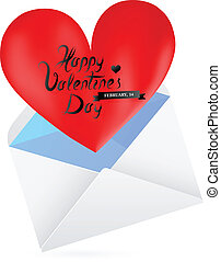 Love letter - St Valentines day greeting card template Love...