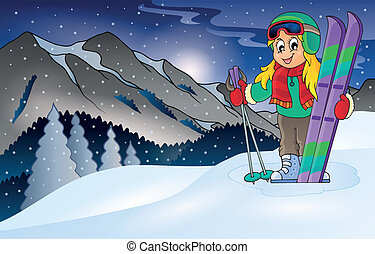 Winter mountain sport theme 1 - eps10 vector illustration.