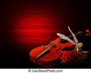 musique, fond, violon, roses